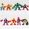 Marvel Q The Avengers Mini Iron Man Spider Man Capitão América Hulk Brinquedos Action Figure conjunto de 8 Frete Grátis