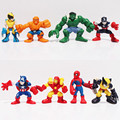 Marvel Q The Avengers Mini Iron Man Spider Man Captain America Hulk Action Figure Toys set of 8 Free Shipping