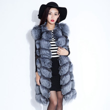 Luxury Real Silver Fox Fur Vest Waistcoat Autumn Winter Women Fur Gilet Extra-long Outerwear Coats Overcoat 3XL VK3003