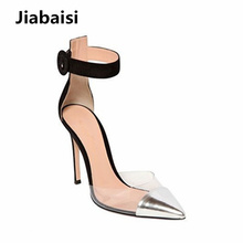 Jiabaisi shoes Women Sandal transparent heels Pointed Toe High Heel  strap Stiletto Heels Large Size Wedding Party Evening Shoes