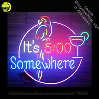 17x14 It's 5 :00 Somewhere Parrot Neon Sign Handmade Real Glass Tube Quality Guarantee Handcraft neon lights vintage Lamps
