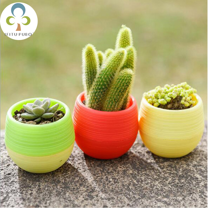AliExpress & US $1.07 34% OFF|1pc Rainbow color mini pots more meat plant creative small flower pots plastic automatic sucking lazy flower pots LYQ-in Flower Pots ...