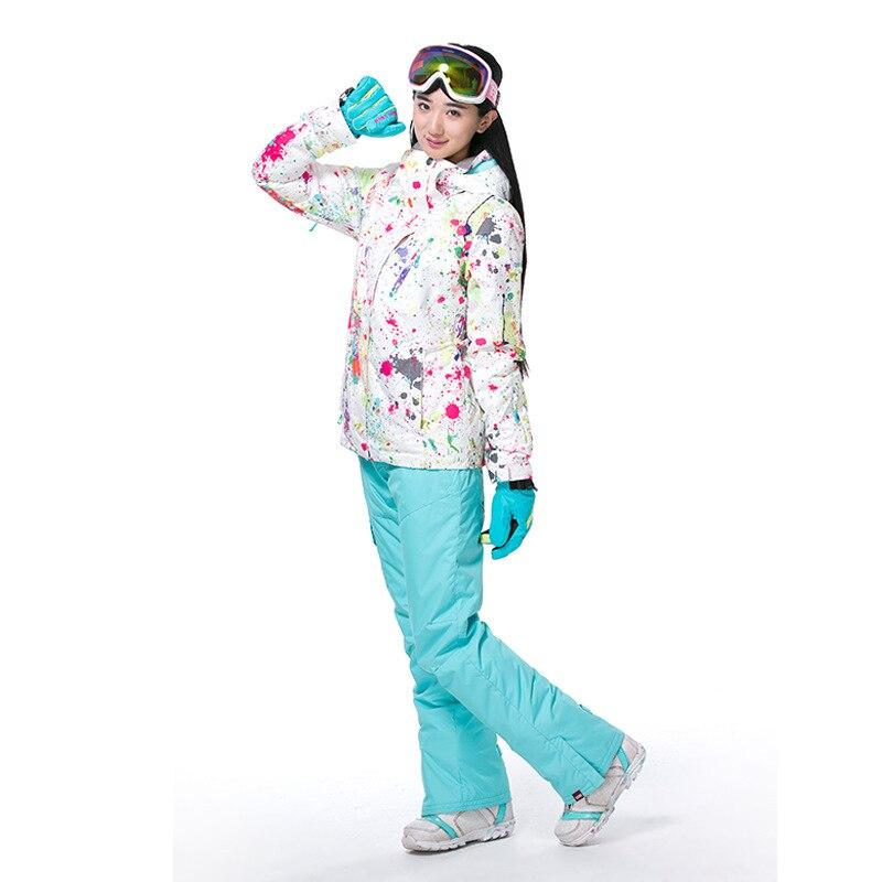 GSOU neige dame hiver Ski costume coupe-vent imperméable respirant chaud veste de Ski neige vêtements pour les femmes taille XS-XL - 4