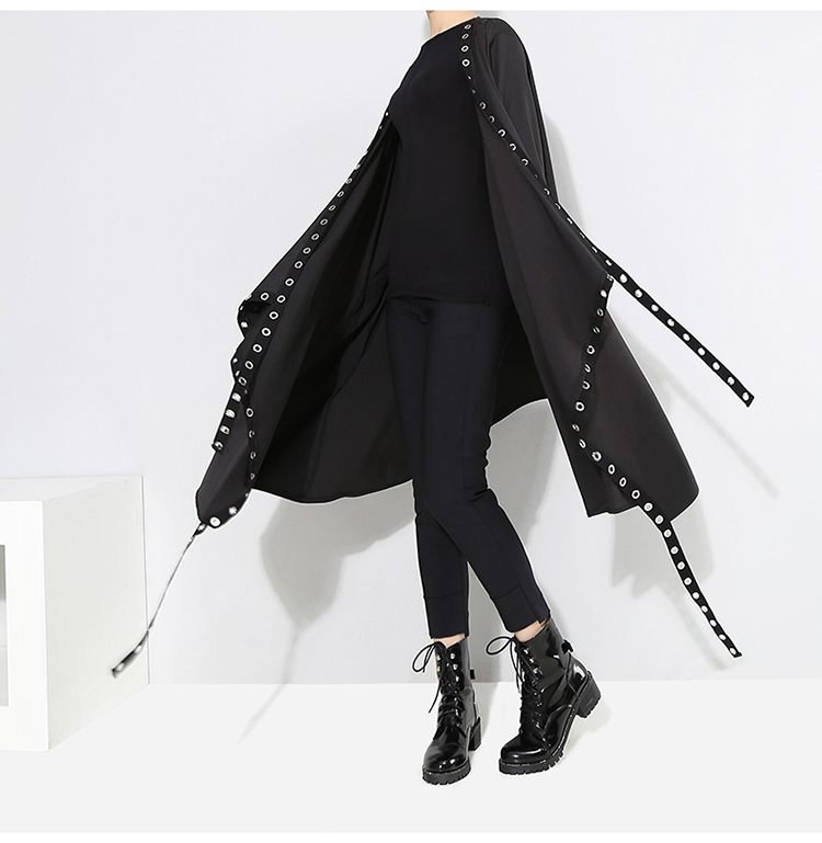 New Fashion Style Long Tape Stitched Metal Holes Jacket Fashion Nova Clothing