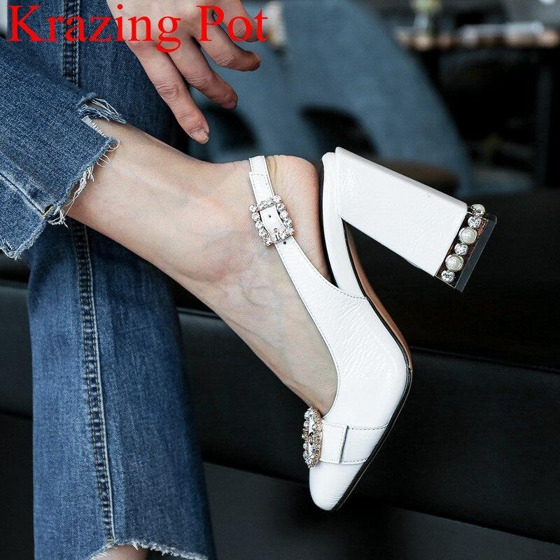 2019 de mode peu profonde talons hauts sandales femmes boucle sangle bureau dame élégante perle cristal solide discothèque chaussures de mariage L8f1