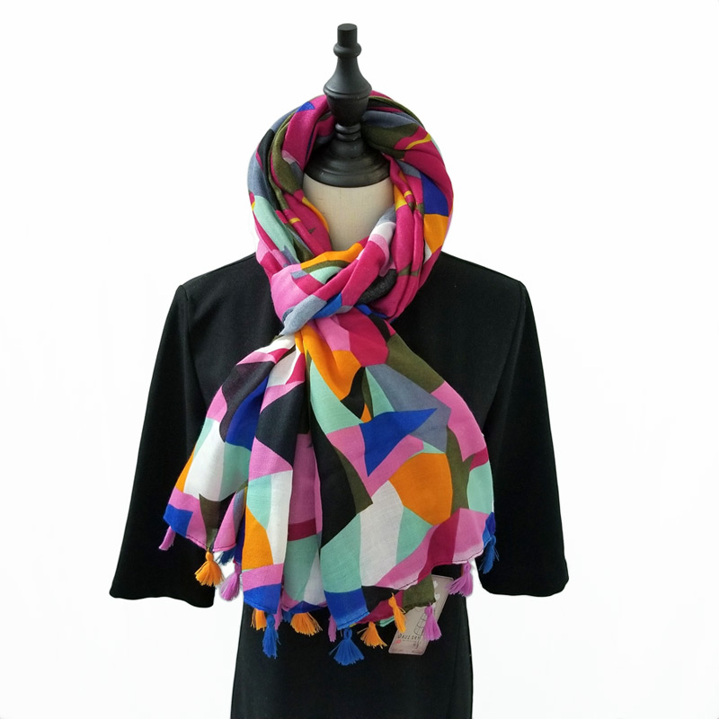 Women Cotton   Scarf   Colorful Geometric Pashmina Fashion w/ Tassels Neck Shawl Blanket   Wrap   180x100 cm [0237]
