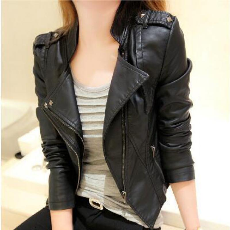 Spring And Autumn New Pu Lady Short Jacket New Brand YAN QING HUAN 2018 Korean Slim Coat Leather Jacket Black sexy slim
