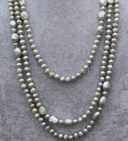 Wholesale Pearl Jewelry , 68 Inches Long 6 10MM Gray Color Genuine Freshwater Pearl Necklace Fashion Lady's Jewelry