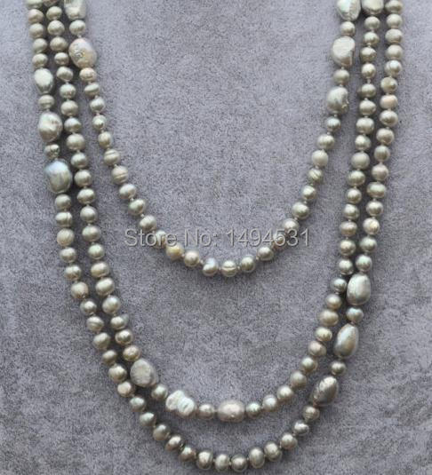 Wholesale Pearl Jewelry , 68 Inches Long 6-10MM Gray Color Genuine Freshwater Pearl Necklace - Fashion Lady's Jewelry