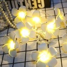 Винтажный Франгипани цветок светодиодный китайские фонарики, веревка батарея Рождественская елка топперы Фестиваль сад дома вечерние свадебные Декор# N
