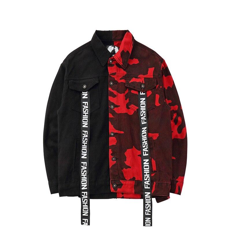 Sokotoo męskie luźne czarny czerwony kamuflaż jean kurtka modne luźne streetwear litery drukowane denim płaszcz Top odzież wierzchnia w Kurtki od Odzież męska na AliExpress - 11.11_Double 11Singles' Day 1