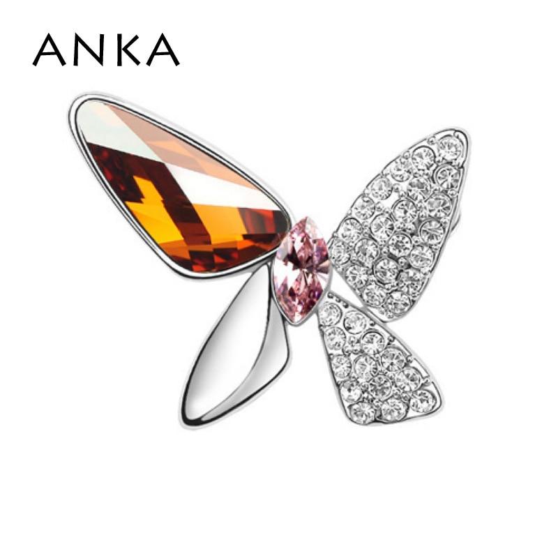 ANKA Мода бабочка брошь булавка броши на одежду Новая мода Кристалл Мода брошь основной камень Кристаллы из Австрия#77455 - Окраска металла: 77453