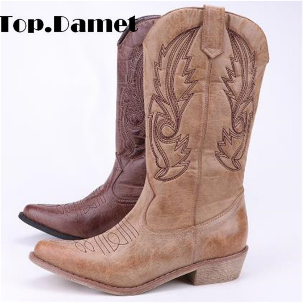 Top.Damet Women Knee High Boots Leather Cowboy Cowgirl Boots Pointed Toe Slip-On Western Girls Motorcycle Shoes Woman Ladies