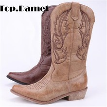 Top.Damet Women Knee High Boots Leather Cowboy Cowgirl Boots Pointed Toe Slip On Western Girls Motorcycle Shoes Woman Ladies