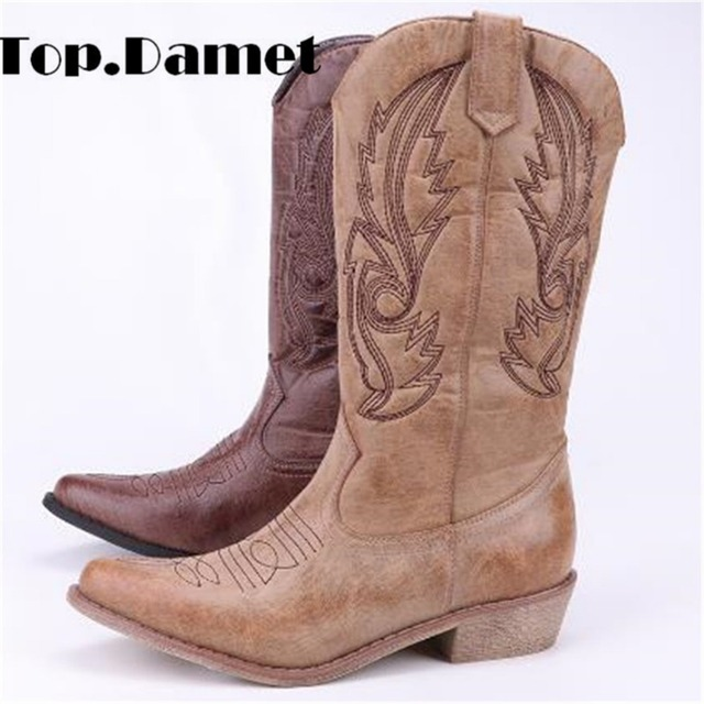 Top.Damet Women Knee High Boots Leather Cowboy Cowgirl Boots Pointed Toe Slip-On Western Girls Moto