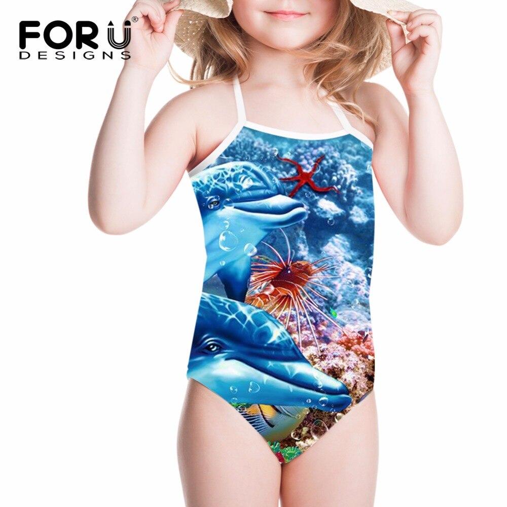3035aa3fe93 FORUDESIGNS Children Swimsuits for Girls One Piece Swimwear Underwater  World Dolphin Printing Kid Swimsuit for Summer Bechwear -in Children's One- Piece ...