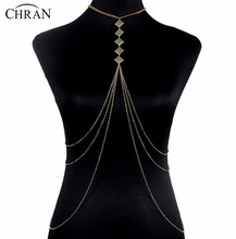Chran New Luxury Fashion Stunning Sexy Body Belly,Gold Full Body Necklace Chain Slave Harness Shoulder Necklace Jewelry