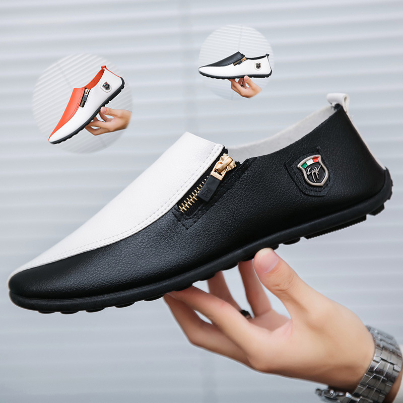crazy-shop Slip On Men Casual Shoes PU Leather Driving Shoes Men Loafers Moccasins for Male,Black,5.5
