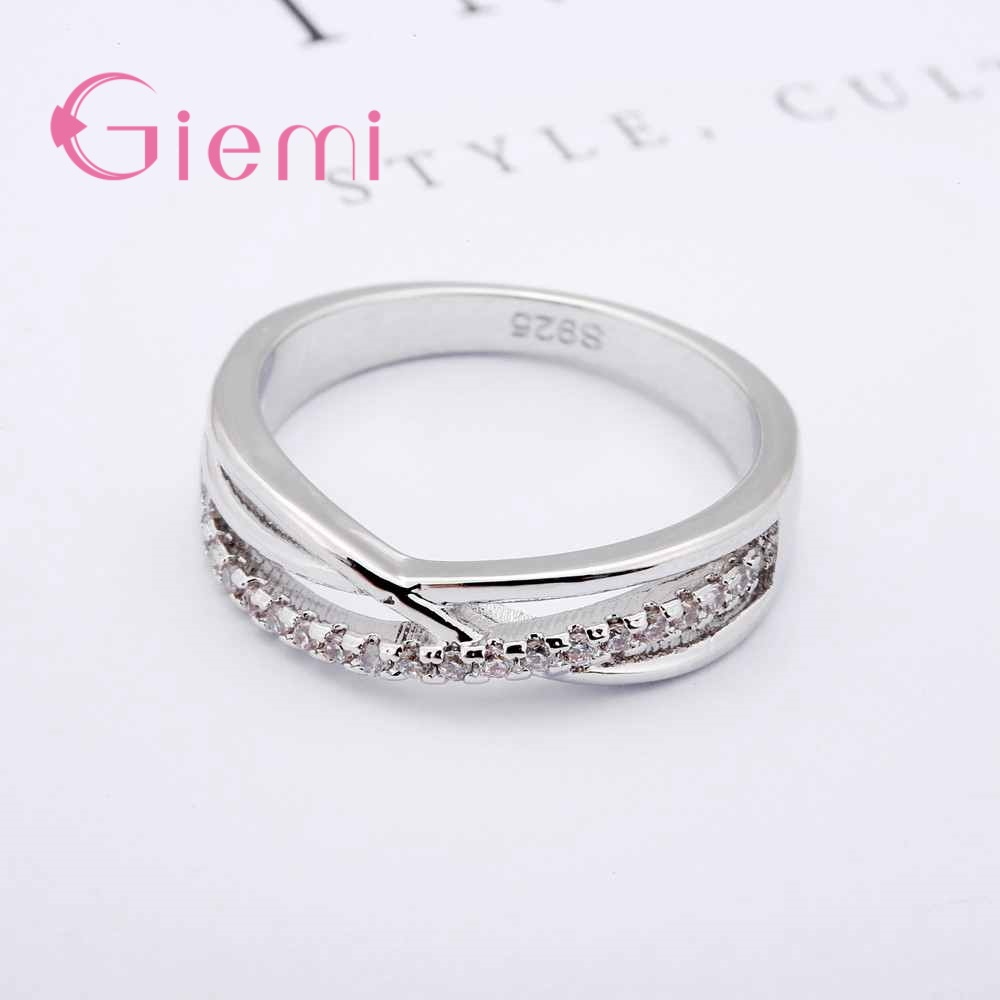Cubic Zirconia Rings For Women Filled Crystal Type Trendy Fashion 925 Sterling Silver Rings Jewelry Bijouterie Wholesale 2