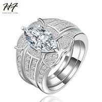 18K White Gold Plated Luxury 3 Rounds Bijoux Fashion Wedding Ring Set CZ Diamond Jewelry For