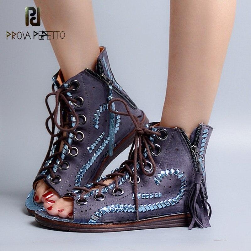 Prova Perfetto Fashion Hollow Out Tassels Cross Tied Bohemia Sandal Summer Peep Toe Low Heel Women