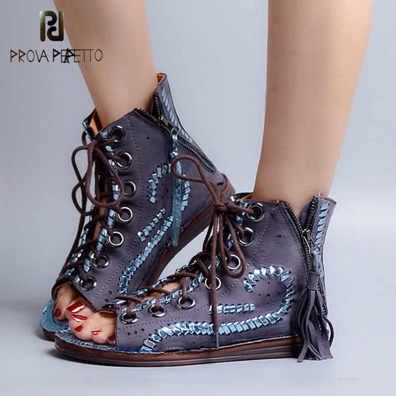 633b067f01c57 Prova Perfetto Fashion Hollow Out Tassels Cross Tied Bohemia Sandal Summer  Peep Toe Low Heel Women