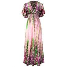 Robe femme ete 2017 Bohème Femmes D'été Plage Robe V cou À Manches Courtes Imprimé Floral Robe Plus La Taille 7XL Robes mujer