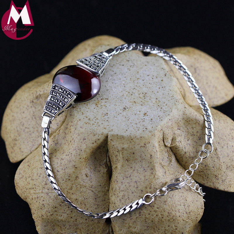 100% Natural Red Garnet Charm Bracelet For Women 925 Sterling Silver Bracelets & Bangles Ethnic Fine Jewelry Trendy Party SB51