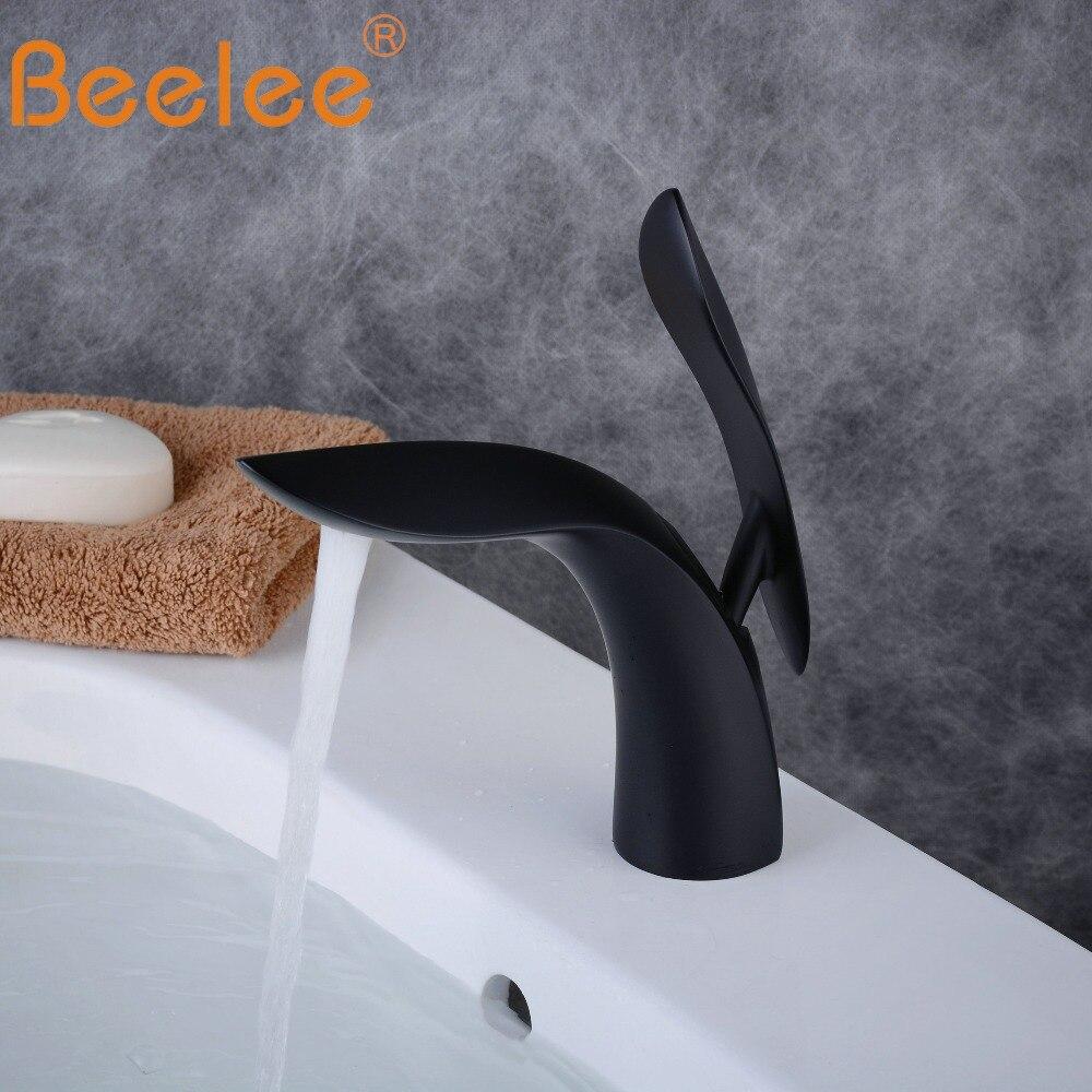Beelee salle de bains bassin mitigeur robinet Moderne cuve évier robinets mitigeur lavabo noir mat BL8801B - 2
