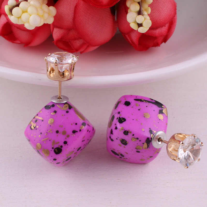 13 colores nueva llegada Piedra Natural doble siedes cristal geométrico pendiente bohemio cuadrado dorado corona pendientes para mujer