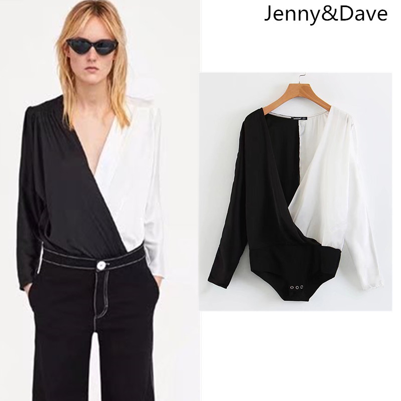 Jenny&Dave Bodysuits women england style regular patchwork none white and black panelled v-neck cotton polyester 2018 plus size