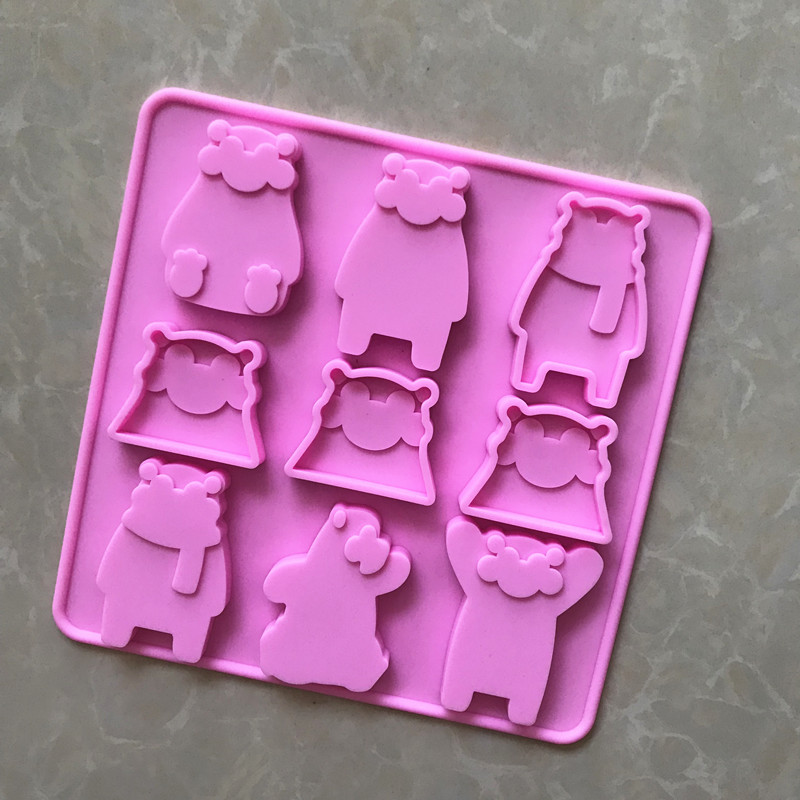 Genteel Spot Wholesale 9 Even Big Expression Bear Chocolate Mold Xg216 Cake Molds