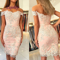 Sexy Lace Cocktail Dress Party Plus Size Ladies Knee Length Girl Women Formal Prom Graduation Semi Formal Dress