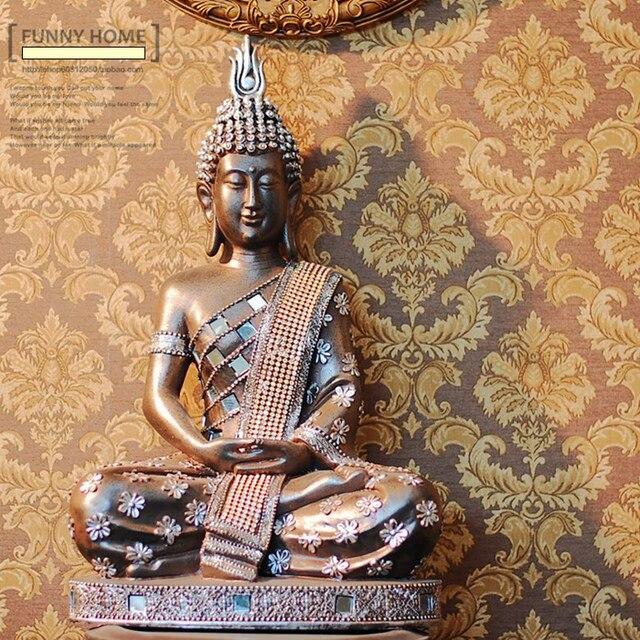 Belle Argent Fleur Bouddha Thaïlande Asie Du Sud Hôtel Décoration