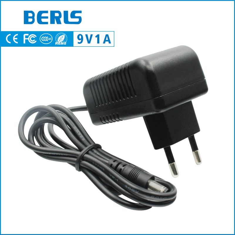 BERLS universal 9v 1a power adapter 9 volt 1000mA power supply with 5.5*2.5/5.5*2.1mm dc plug