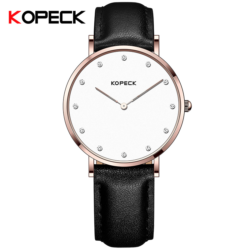 Kopeck Simple Ultra Thin Quartz Men Watch Male Clock Watch Rose Gold Case Brown Leather Strap Waterproof Wristwatch Rannekello ultra thin watch male student korean version of the simple fashion trend fashion watch waterproof leather watch men s watch quar
