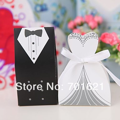 fedex Free Shipping 2000pairs 4000pcs lot Bride and Groom Wedding candy Boxes Hot Sale Bride and