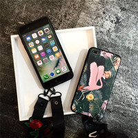 Sexy Romance Rose Sling Soft Leather Mobile Phone Cases For IPhone8 8Plus 7 7Plus Plastic Silicone