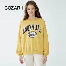 COZARII BTS sweatshirt women high street boyfriend letter print cartoon o-neck drop-shoulder overisze yellow hoodies women tops