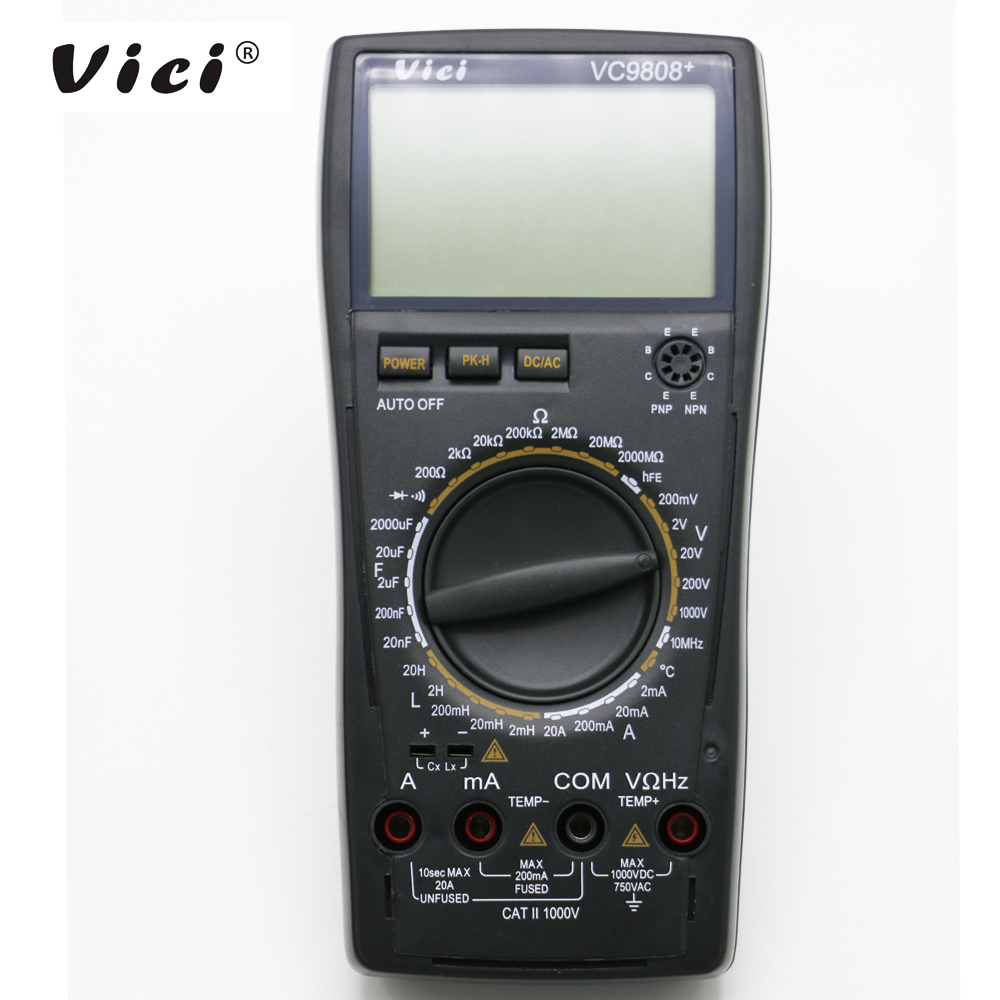 VICI VC9808  LCD display digital Multimeter Electrical Meter Inductance Res Cap Freq Temp AC DC Ohmmeter Inductance Tester