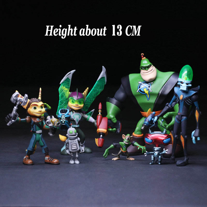 13CM Game Ratchet and Clank Future Ratchet With Transforming Clank PVC Action Figures Kids Toys For Gift with Box lps pet shop toys rare black little cat blue eyes animal models patrulla canina action figures kids toys gift cat free shipping