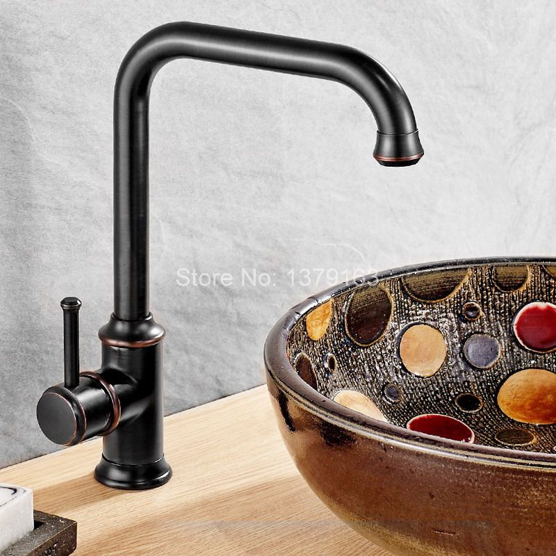 Black Oil Rubbed Bronze Single Hole Single Lever Handle Swivel Spout Kitchen Sink Faucet Cold & Hot Mixer Tap asf091 black oil rubbed brass single hole handle kitchen swivel spout vessel basin sink faucet hot cold mixer water tap anf060