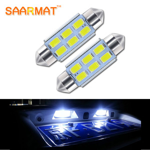 2 For Volkswagen VW JETTA GTI GOLF RABBIT MK4 MK5 PASSAT B5 B6 C5W 36mm Canbus No Error License Number Plate Light LED Bulb(China)