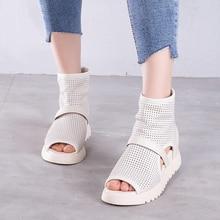 Artdiya Summer New Roman Sandals Back Zipper Peep Toe Hollow Genuine Leather Womens Cowhide Handmade Shoes Wedges Heels