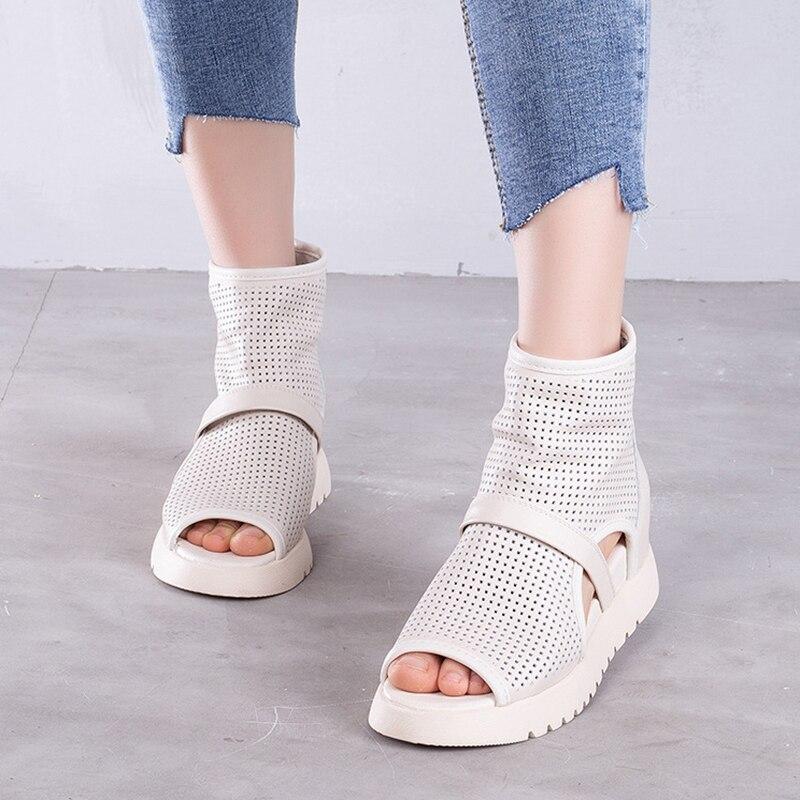 Artdiya 夏新ローマのサンダルバックジッパーピープトウ中空本革の女性のサンダル牛革ハンドメイドの靴ウェッジヒール  グループ上の 靴 からの ミドルヒール の中 1