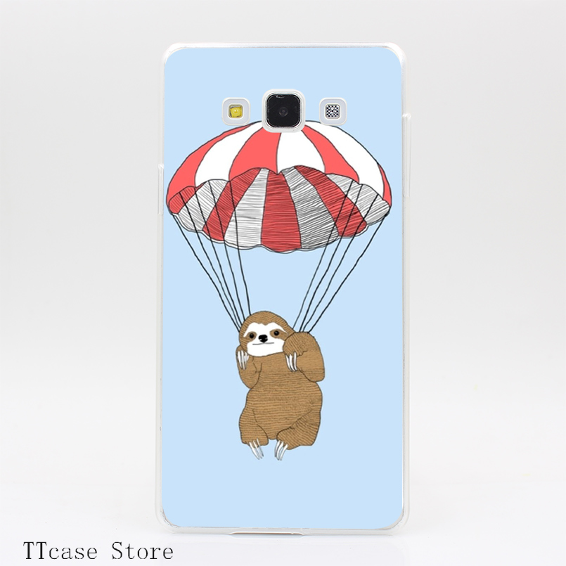 2627CA PARACHUTING SLOTH Transparent Hard Cover Case for Galaxy A3 A5 A7 A8 Note 2 3 4 5 J5 J7 Grand 2 & Prime