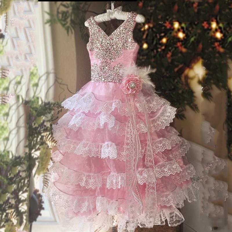 Lovely Pink Princess Girl Communion Gown Girl Luxury Beaded Flower Feather Flower Girl Dress For Wedding Kids Long Prom Dresses