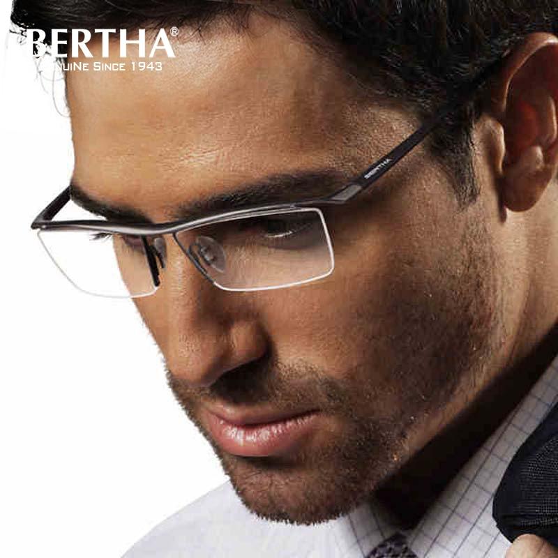 Bertha Men Optical Frame Glasses Prescription Eyeglasses Myopia Frame Ultralight Titanium Semi rimless Business Eyewear 8189