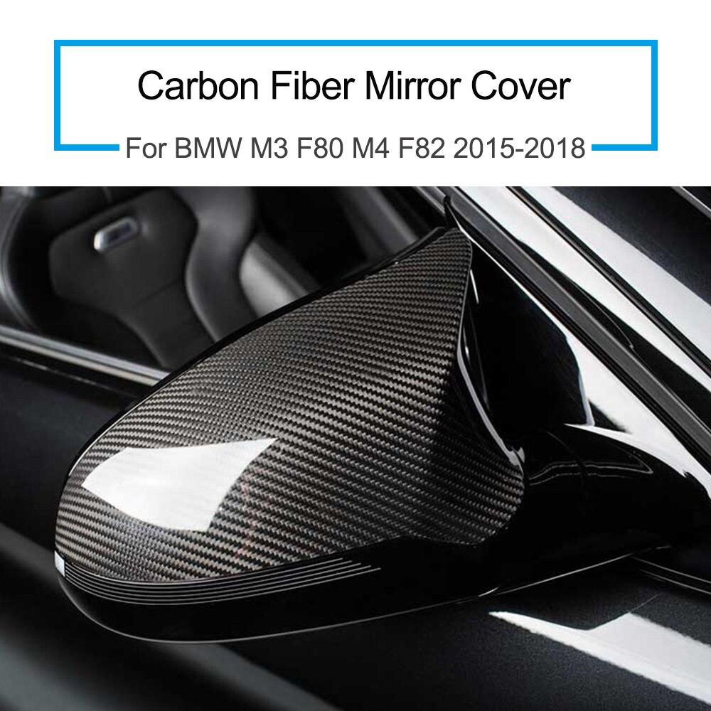1 Pair For BMW M3 F80 M4 F82 2015 2018 Carbon Fiber Mirror Cover Car Accessories