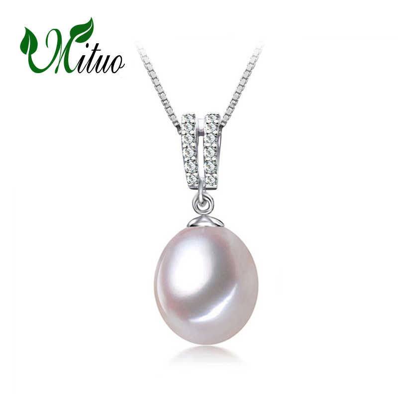 MITUO Natural Pearl pendant Necklace,Pearl Jewelry,Choker for Women wedding Jewelry 9-10mm Love vintage Pearl Necklace